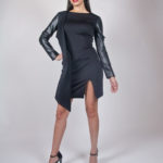 Look6A - NA14KD008 (DRESS) SCUBA DRESS W/ PU SLEEVE $199.99