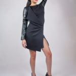 Look6B - NA14KD008 (DRESS) SCUBA DRESS W/ PU SLEEVE $199.99