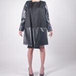 Look8A - NA14WJ010 (COAT) SCUBA PU DRESS COAT W/ CONTRAST LINING $249.99