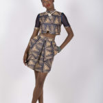Third look: J003 ($54.99) Tribal printed crop top with royal blue sheer organza sleeve paired with J004 ($89.99) matching tribal print fold out skirt.