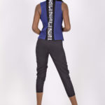 Fifth look: J0013 ($109.99) Royal blue suede vest with cotton white & black tribal print inserts J0014 ($64.99) Paired with white & black tribal cropped pants.