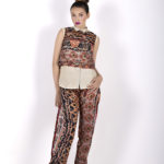 Seventh look: J00180 ($44.99) Beige button up top, J0017 ($44.99) layered with a multi-printed tribal cropped top and J0019 ($64.99) multiple printed tribal pants with size opening.