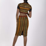 Eighth look: J007 ($69.99) Tribal print crop top with black mess sleeve and suede insert.  J008 ($89.99) Paired with rusty orange suede skirt with sheer black mess inserts.