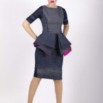Tenth look: J005 ($99.99) Navy blue cotton peplum top with pink lining accents and J006 (44.99) matching skirt.