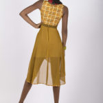 Eleventh look: J0025 ($149.99) Tribal print cotton with Dark yellow green chiffon dress.