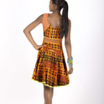 Twelfth look: J0023 ($149.99) Tribal printed cotton cocktail dress with mess and leather inserts.