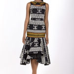 Thirteenth look: J00210 ($199.99) multiple tribal printed cotton mermaid gown with sheer back.