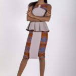 Fifteenth look: J0026 ($49.99) Beige peplum top w/ tribal inserts bow. J0027 ($74.99) Paired with matching skirt.