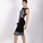 Sixteenth look: J0022 ($159.99) Black double stretch twill cotton & tribal printed cotton cocktail dress w/ cut outs.